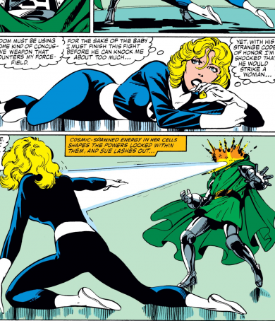 Sue Storm destroying a Doom bot