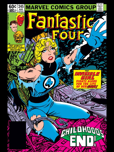 "Fantastic Four cover captioned ""The Invisible Girl fights alone for the life of her son"""