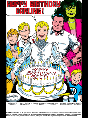 "Sue Storm with a very '80s mullet presents a cake to her husband, Reed Richards saying ""Happy birthday, darling!"""