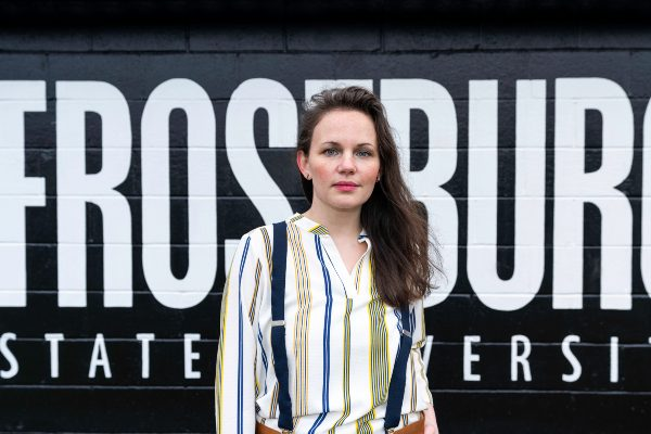 Cassie Conklin on campus of Frostburg State University in Frostburg Maryland