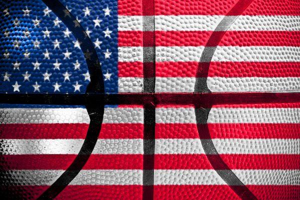 American Flag superimposed on basketball illustration