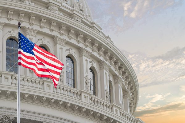 Flag in foreground of U.S. Capitol