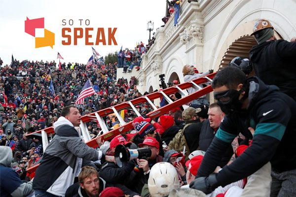 Capitol violence photo with So to Speak logo