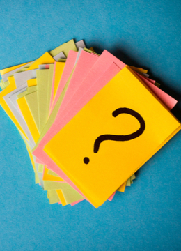FAQ note cards with question marts