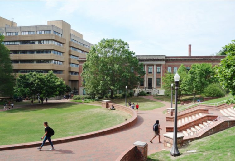 Students on campus at NC State