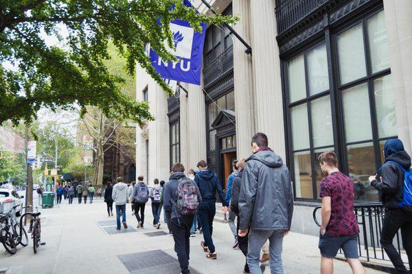 NYU students walking
