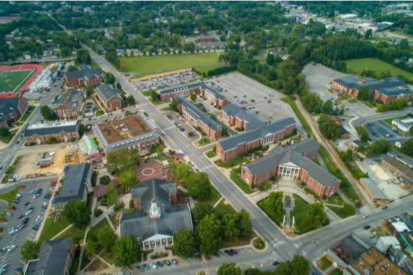 Aerial shot of Tennessee Tech campus