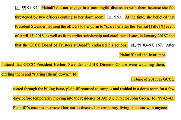 Excerpts from a lawsuit involving a student athlete and Garden City Community College.