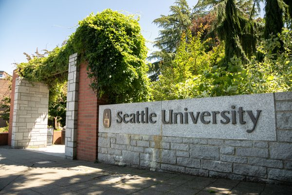 Seattle University sign at the Capitol Hill college campus