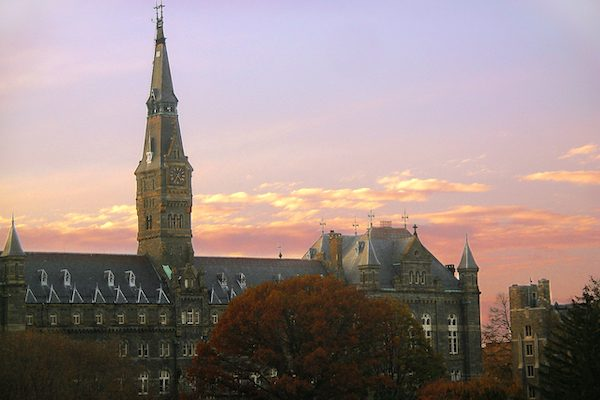 Georgetown University's Healy Hall from the east side taken at sunset from the Walsh Building.