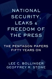 National Security, Leaks and The Freedom of the Press cover