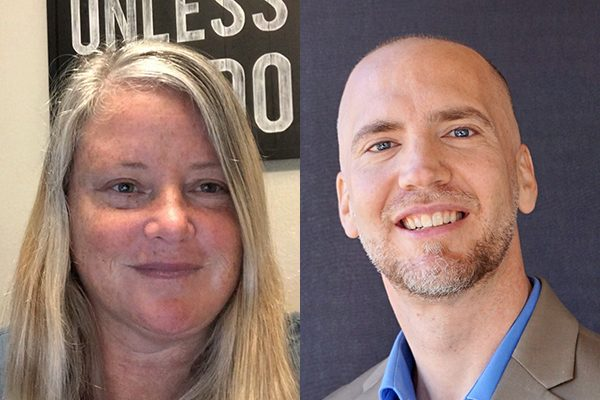 """Bakersfield College threatened to fire professors Matthew Garrett (left) and Erin Miller (right) after they said grant expenditures at the community college """"promote a partisan political agenda."""" (Photos provided by Garrett and Miller)"""