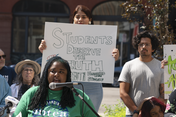 Protesters with the Milwaukee Teachers' Education Association attend the Teach the Truth rally in opposition to Republican legislation banning critical race theory in schools.