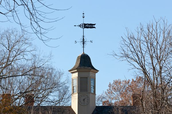 Weather vane on William and Mary College on December 30, 2011. The college was chartered in 1693 in Williamsburg.