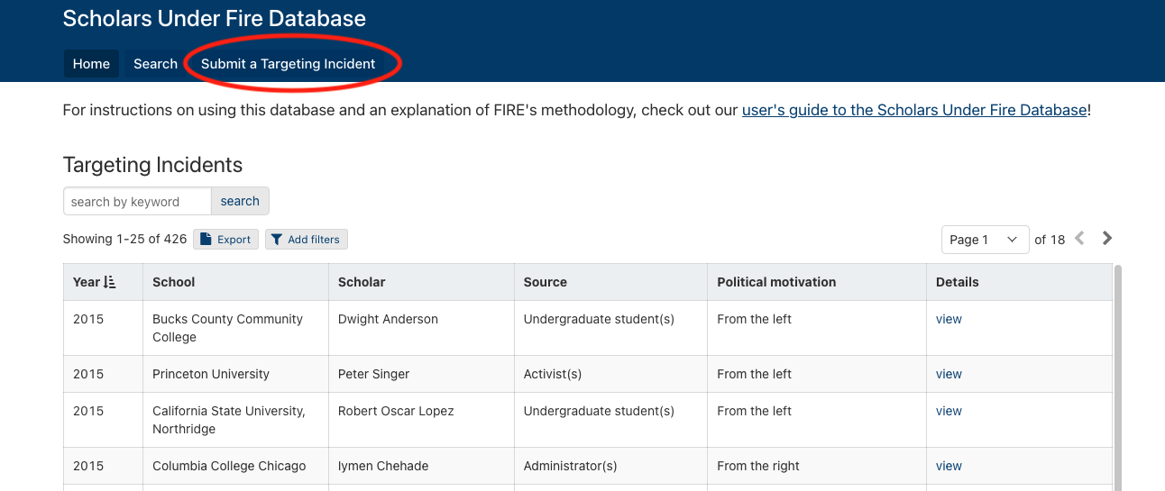 Scholars Under Fire Database Users Guide
