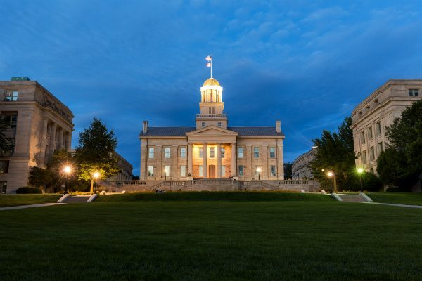 The old state capitol building in Iowa City, now part of the University of Iowa.