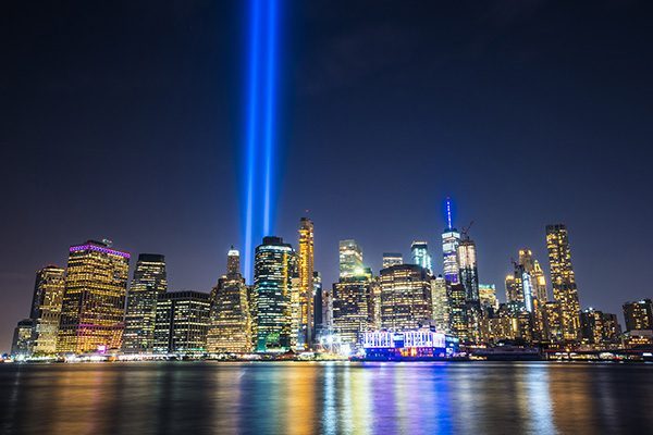 New York skyline view with Tribute in Light Memorial in remembrance of the September 11, 2001 attacks.