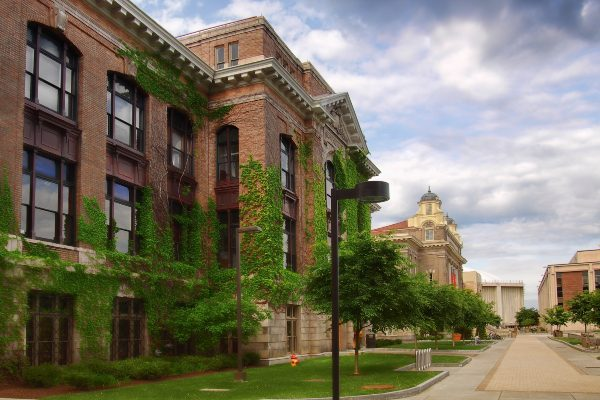 Syracuse University campus on Sims Drive.