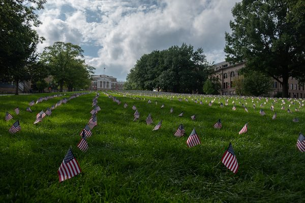 Flags line Bascom Hill on the University of Wisconsin Campus to commemorate lives lost on 9/11.