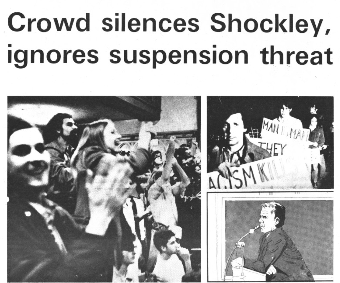 Protesters disrupt an event featuring controversial speaker William Shockley at Yale University on April 15, 1974.