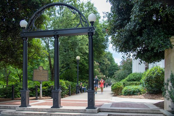 A view of the Arch and entrance to the University of Georgia's North Campus on the first day of classes of the Fall semester during the Coronavirus pandemic.